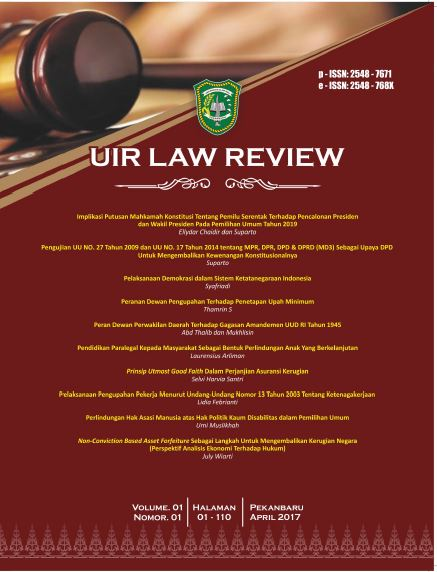 UIR Law Review, Vol. 1, No. 1, April 2017