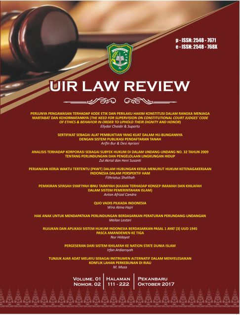 UIR Law Review, Vol. 1, No. 2, Oktober 2017